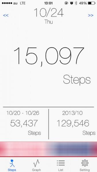 iPhoneアプリ『M7歩数計』がシンプルで良い!